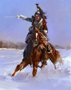 Coracero francés cargando en la nieve durante las Guerras Napoleónicas, cortesía de Mariusz Kozik. http://www.elgrancapitan.org/foro/viewtopic.php?f=21&t=11680&p=893623#p893414