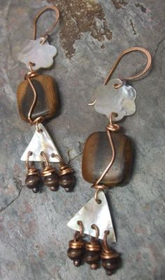 Natural Shapes Copper Shell and Wood by ThePurpleLilyDesigns, $18.75