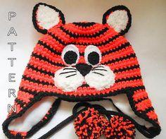Crochet Pattern - Tiger Cat Hat, earflap, beanie, animal, character hat