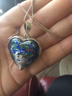 Big Sterling Silver 925 Glass Heart Pendant / Necklace  - just stunning and very elegant