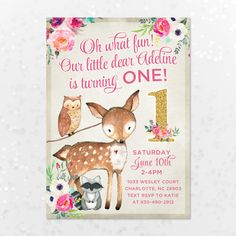 Pink Fawn Deer Birthday Invitation 5x7 Girls First Birthday
