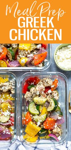 These Sheet Pan Greek Chicken Meal Prep Bowls are a low carb make ahead lunch idea seasoned with a simple lemon-oregano marinade and they're ready in just 30 minutes! Healthy Eating Recipes, Whole Food Recipes, Vegan Recipes, Cooking Recipes, Lunch Recipes, Delicious Recipes, Chicken Meal Prep, Chicken Recipes, One Pot Dinners
