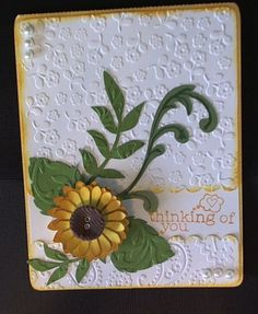 Sunflower thinking of you handmade card layered papers