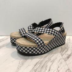 rag & bone Shoes | Rag Bone Megan Gingham Platform Sandals | Poshmark Rag And Bone, Women's Shoes Sandals, Gingham, Bones, Espadrilles, Polka Dots, Platform, Outfit, Sneakers