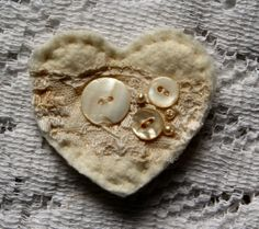 Shabby Heart Pin HANDMADE with lots of vintage by sugarlumpstudios