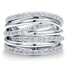 Sterling Silver 925 Cubic Zirconia CZ Multi Strand Woven Ring