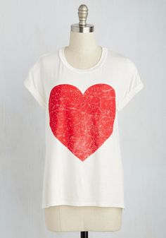 It's Mutual Tee. Everyone who catches a glimpse of the bold red heart on your ivory tee will concede that they concur with its expression of love! #white #modcloth