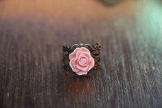 Antique Brass filagree pink flower ring $6.00 <3 Pin Now, check out later <3 loomstruck.etsy.com