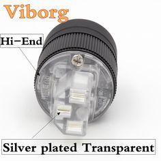 2pcs Viborg  Rhodium plated  Transparent EU /UK/UK IEC female AC connector for DIY HiFi Power Cable