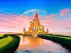 Disney Castle Mural with Princesses