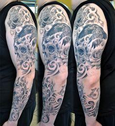Black And Grey Skull Sleeve Tattoo - http://99tattooideas.com/black-grey-skull-sleeve-tattoo/ #tattoo #tattoos #ink