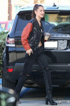 Bella Hadid arriving at the Chrome Hearts office in Los Angeles