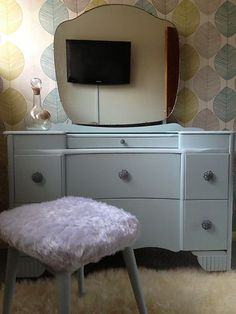 Vintage Painted Dressing Table Laura Ashley Duck Egg Blue Mirror Shabby retro | eBay    Want a dressing table OH SO MUCH!