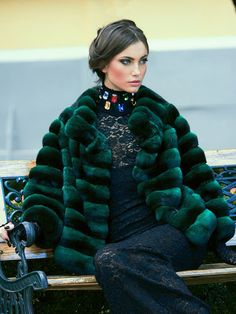 Green Dyed Chinchilla Fur Jacket