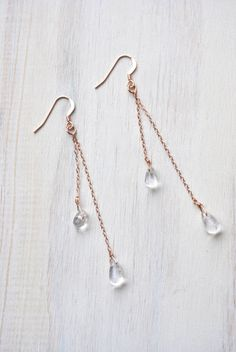 Rose Gold Earrings Delicate Earrings Simple by FeminaHandmade