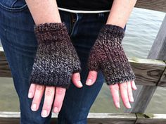Mendocino Heel Stitch Fingerless Gloves by Cathy Campbell