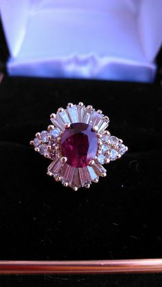 Vintage 18k Gold 2ct Ruby Diamond Ballerina Ring by MADAMECKERSON