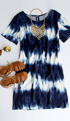 Seawall Ivory and Navy Shift Dress