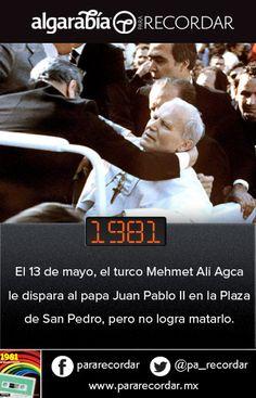Un día como hoy de 1981, Juan Pablo II sufrió un atentado en El Vaticano. (vía @pa_recordar)