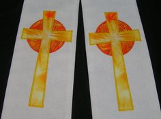 White Clergy Stole with Easter Sunrise Cross