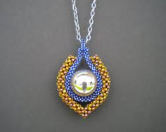 Moroccan Moonlight Pendant Necklace - Cubic Right Angle Weave Beadwork Jewelry