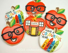 Icing on Top School Cookies Apple Cookies, Fall Cookies, Iced Cookies, Cute Cookies, Royal Icing Cookies, Cupcake Cookies, Sugar Cookies, Teacher Cakes, School Cake