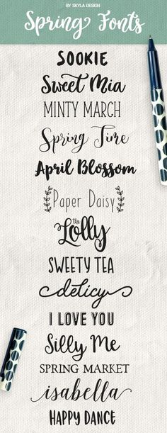 Here are some Cute Handwritten Spring fonts Sookie Sweet Mia Minty March Spring Time April Blossom T. Calligraphy Fonts, Typography Fonts, Calligraphy Alphabet, Modern Calligraphy, Islamic Calligraphy, Font Art, Police Font, Spring Font, Sketch Note