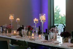 purple uplights in Amuse Restaurant