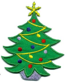 Christmas - Christmas Tree - Embroidered Decorations - Iron On Applique Patch #Unbranded