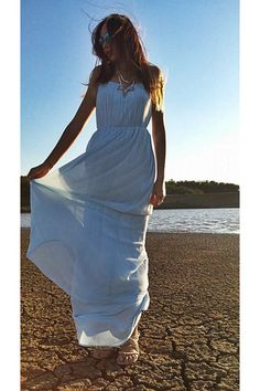 Discover this look wearing New Look Necklaces, Zara Dresses, H&M Sunglasses - Into the blue by RoxiRox styled for Bohemian, Romantic Dinner in the Summer Zara Dresses, New Look, Personal Style, Cover Up, Bohemian, Sunglasses, How To Wear, Blue, Fashion