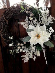 Elegant White Poinsettia Pine Wreath for Door to Replace Christmas Wreath