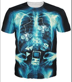 Newest Fashion Womens/Mens x-ray of gamer Funny 3D print T-Shirt Plus Size | eBay
