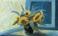 """HENNER, Margarethe """"Sonnenblumen und Sommerflieder"""" Öl auf Leinwand, li.u. sig. Marg. Henner Zierrahmen, deutsch um 1960 Rahmen 109,0 x 73cm..."""