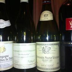 Today's wine. All the wines were great! A bit salty HCDN blanc, Chassagne Montrachet 1er La Romanee had fresh aroma & firm acidity, Romanee St. Vivant had soft, elegant aroma and Termanthia had complex aroma & excellent potential to develop!
