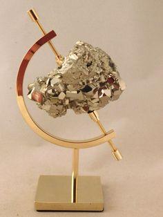 A 100% Natural PYRITE Crystal Cluster! on a Caliper Display Stand! Peru 325gr e…