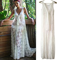 Women's+Lace+White+Dress,+Sexy/Beach/Maxi+Deep+V+Sleeveless+See-through+–+USD+$+16.99
