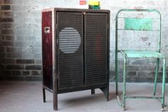 Vintage Rare Industrial Mid-Century Iron Speaker Box Bali Indonesia Storage Cabinet Side Table by hammerandhandimports on Etsy