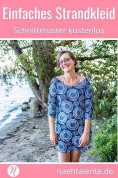 Einfaches Strandkleid für Damen - Kostenloses Schnittmuster Gr. S - XL. Für Anfänger geeignet. Nähtalente - ✂️ Nähtalente - Das Magazin für Hobbyschneider/innen mit Schnittmuster-Datenbank ✂️ #nähen #freebook #schnittmuster #gratis #nähenmachtglücklich #freesewingpattern #handmade #diy via @Naehtalente