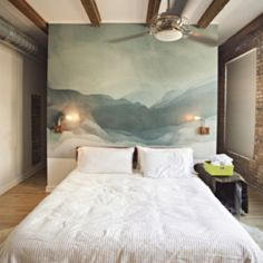 Peaceful mountain canvas headboard. If only I could paint like this