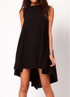 Exclusive High Low Design Sleeveless Chiffon Dress Black