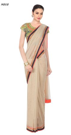 Price @4400.00 INR  Colour : Cream  Fabric : Net  Work : Round Neck, Sleeveless And Embroidered  Beige Coloured Designer Embroidered Saree