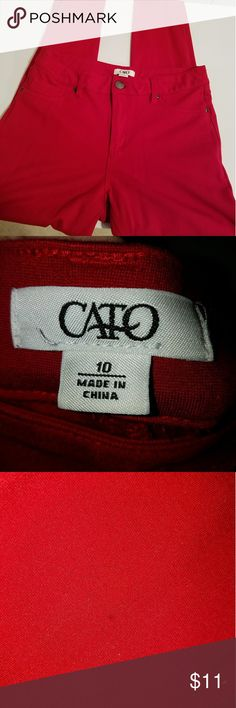 Red Jeggings skinny jeans Size 10 Stretchy! As seen in picture there is a small hole on the  leg. Cato Pants Skinny