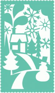 Silhouette Online Store - View Design #51521: winter scene holiday rectangle