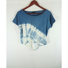 70s Inspired Tie Dyed Crop Top Festival top ) (26 CAD) ❤ liked on Polyvore featuring tops, blue crop top, blue shirt, tie-dye tank tops, tye dye shirts and tie die shirts
