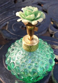 Irice Vintage Perfume Bottle Floral Top Gorgeous Green Glass Hobnail