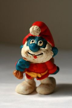 Vintage Papa Smurf Santa Papa Smurf Figure by AbateArts on Etsy, $4.75