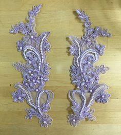 Lilac Appliques Beaded Appliques Beaded Applique by SupremeFabrics