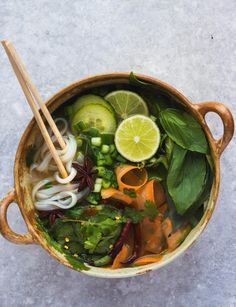 vegan pho with chili, basil, lime, spring onions & rice noodles