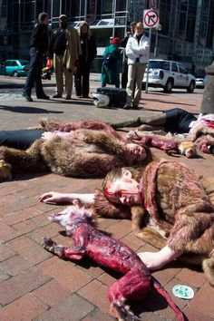 Peta campaign. #WearHumanSkin #AntiFur it's SICKENING that people would do this to animals!!