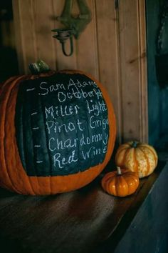 Fall wedding - Paint menu on pumpkins. Could do each item individually for a neater look.